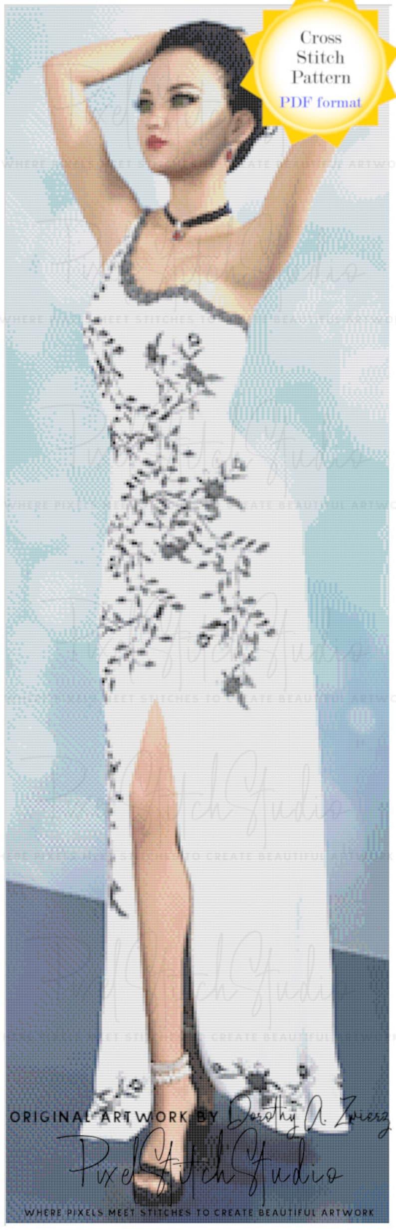 Lovely Lady Salem Full Length Digital Cross Stitch Pattern  image 0