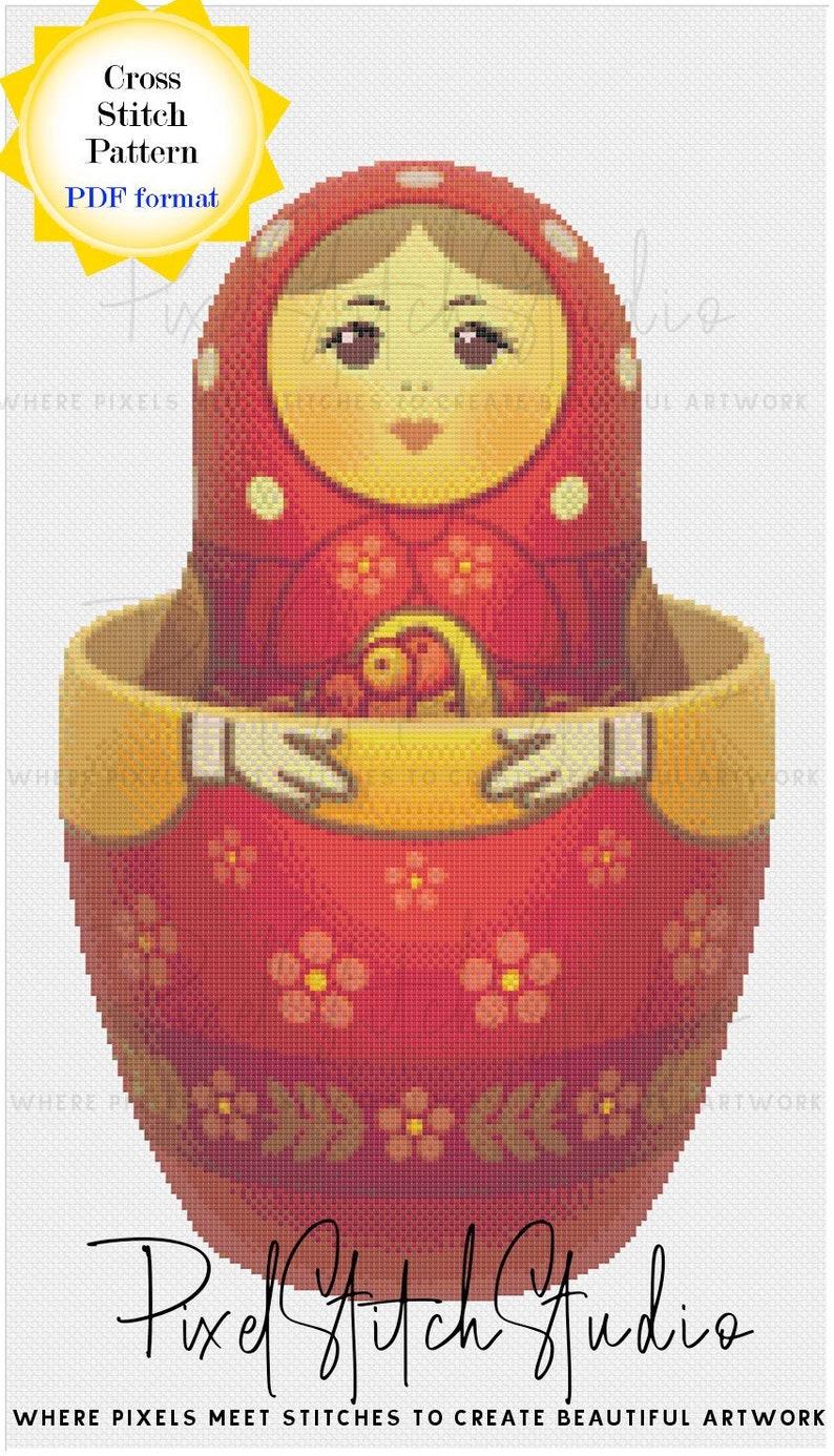 Agata Polish Nesting Doll Opened Cross Stitch Pattern  image 1