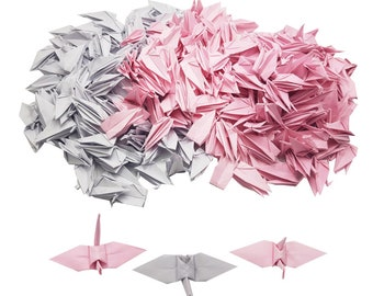 Valentines 100 Origami Cranes Pink Rose pattern Origami Paper cranes 3 inches Origami Crane for Wedding decor Anniversary Gift backdrop