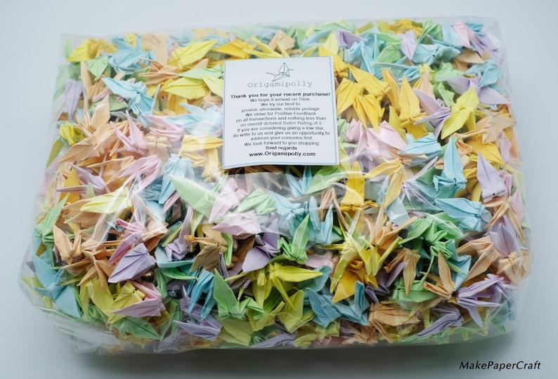 Anniversary Gift backdrop 1000 Origami Paper Cranes Mixed Color Origami Cranes 3.81cm 1.5\u201d Origami Crane for Wedding decor Valentines