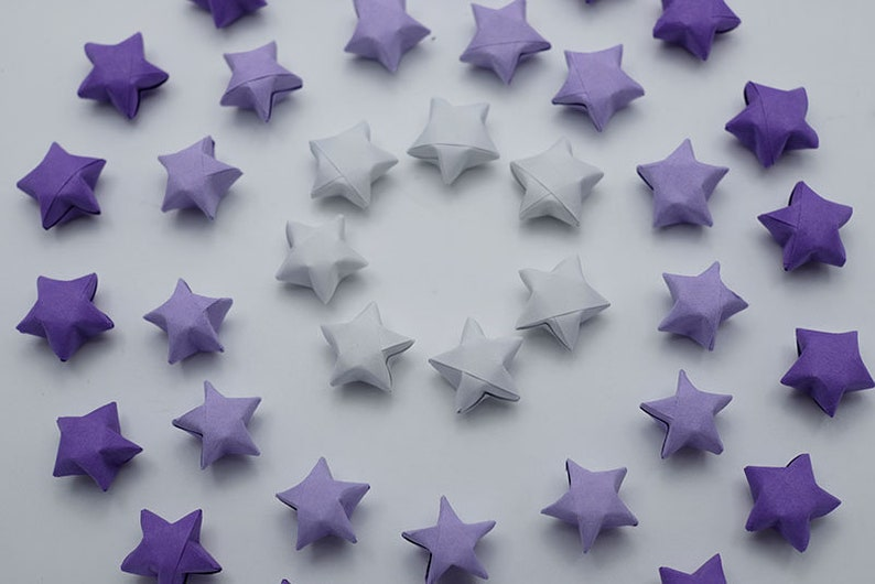 1st anniversary gift,mothers day gift Wishing Stars home decor 1000 Origami lucky stars Purple Shade 1cm Origami stars for jar