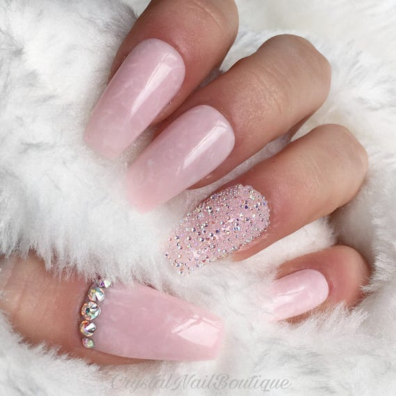 Light pink Marble pixie crystal nails press on nails | Etsy
