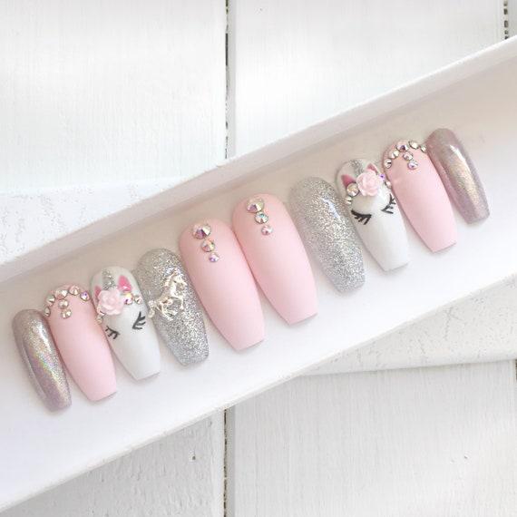 Pink unicorn press on nails
