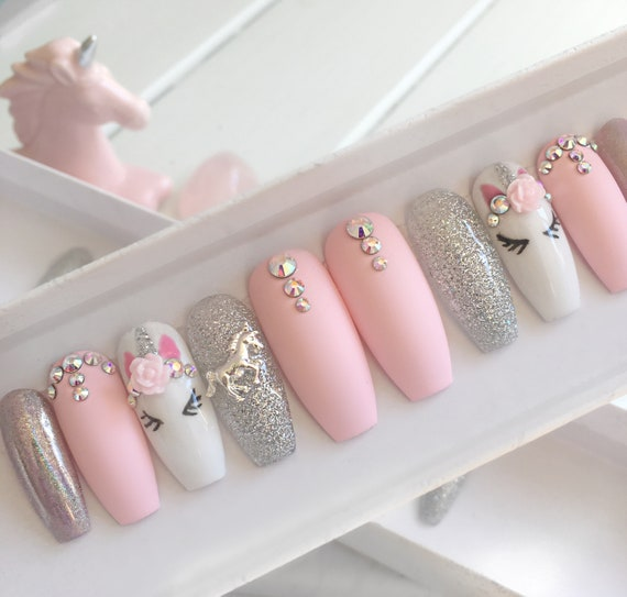 Pink unicorn press on nails