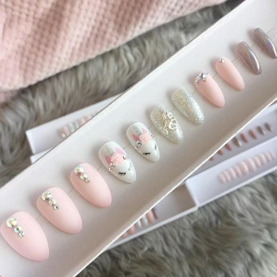 Pink unicorn, press on nails, stiletto nails, short coffin Fake nails  Acrylic nails \u2022gel nails holographic