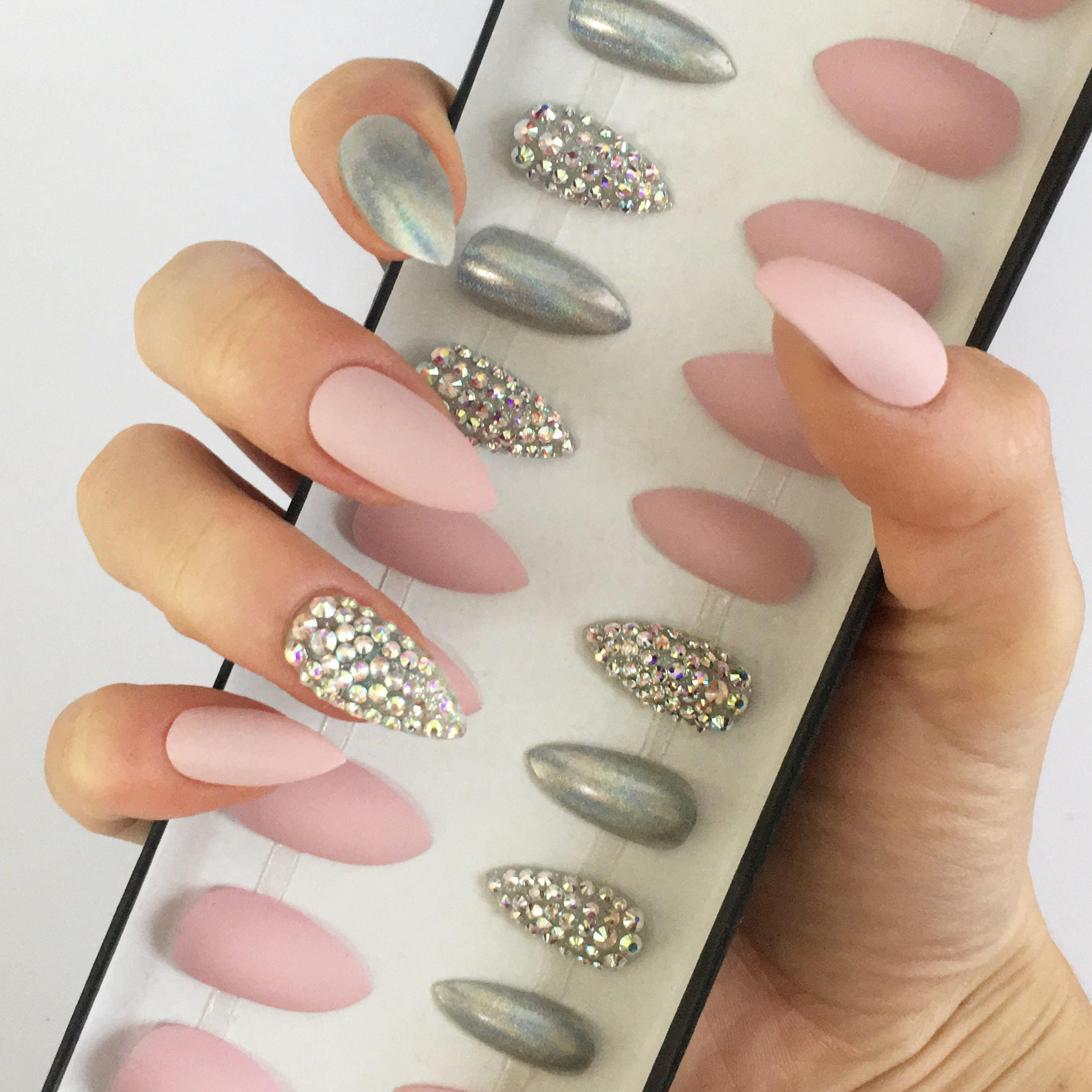 Pink press on nails • Swarovski crystals • stiletto nails • coffin ...