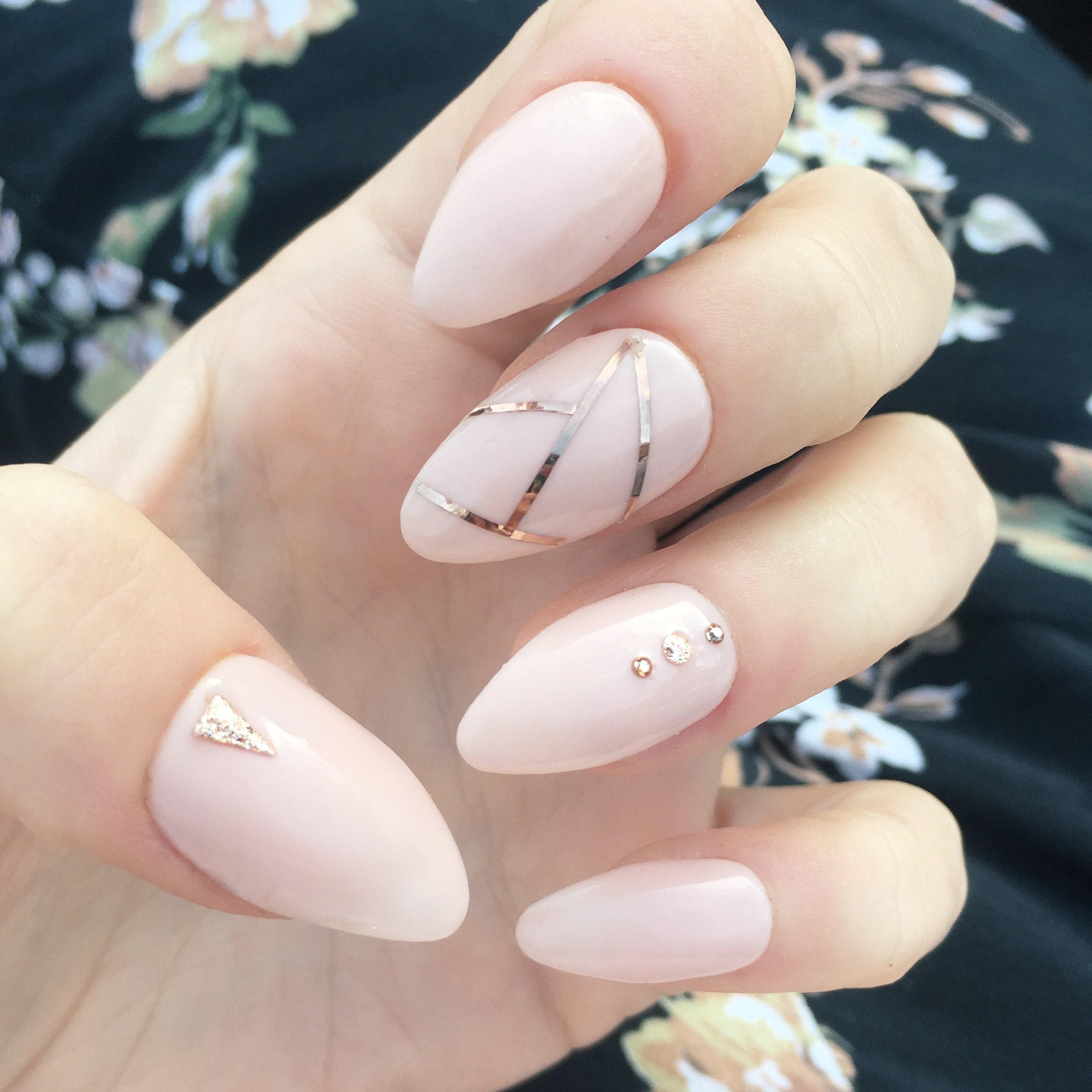 Press On Nails Light Pink Nude Nails False Nails Fake