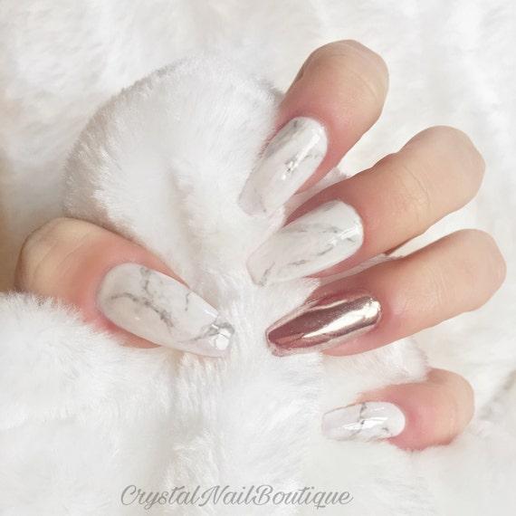 Marble press on nails rose gold chrome nails false nails | Etsy