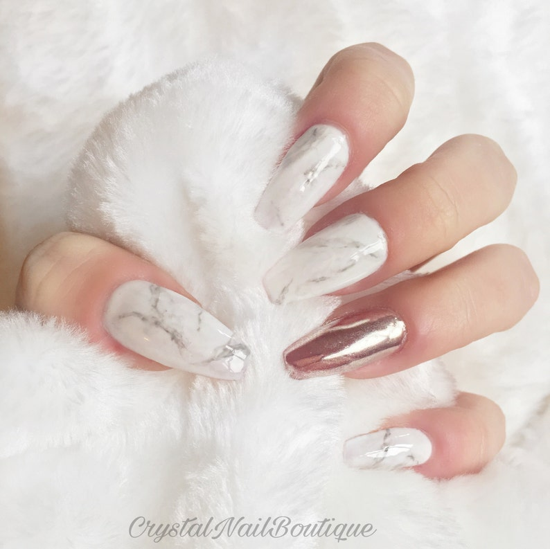 d13d63528632 Marble press on nails • rose gold chrome nails • false nails • fake nails •  Coffin nails • Stiletto nails • Stick on nails • Acrylic nails