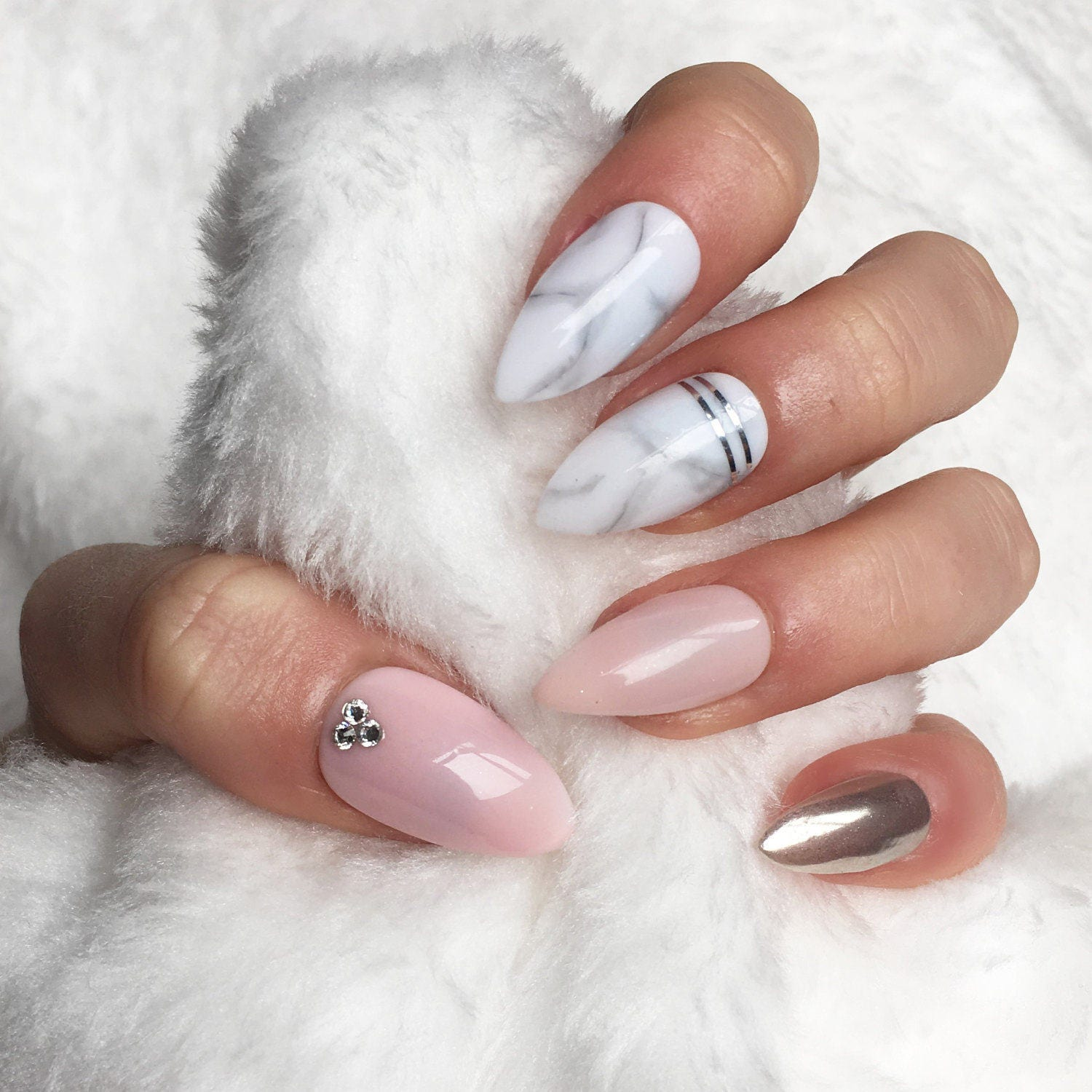 Marble Nail Art Stiletto: Press On Nails Light Pink Marble Chrome Nails False Nails