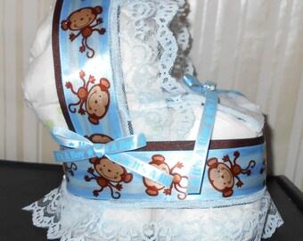 Boys Blue Monkey Bassinet Diaper Cake