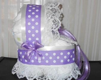 Purple & White Polka Dot Bassinet Diaper Cake Baby Shower Gift