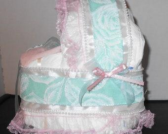 Girls Pink & Mint Green Bassinet Diaper Cake