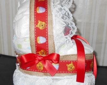 Winnie The Pooh Bassinet Diaper Cake