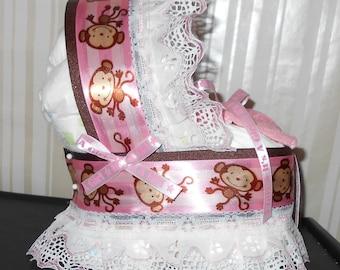 Girls Pink Monkey Bassinet Diaper Cake