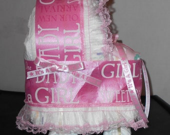 Its A Girl Pink Bassinet Diaper Cake