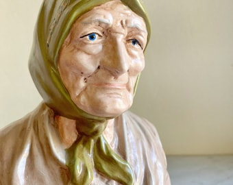Vintage Ceramic Old Fisherman's Wife Bust Sculpture Hand painted Blue Eyes, Green Head Scarf,  Bookshelf Decor