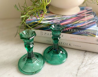Pair of Art Deco Green Glass Candlestick Holders - Mantle / Entryway / Table Decor - Green Depression Glass - Vintage Holiday Tablescape