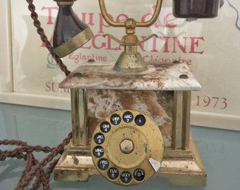 Vintage Rotary Telephone Italian Marble / Alabaster & Bakelite by Telcer, Hollywood Regency, Gold Tone, Housewarming Gift, Office Decor Prop