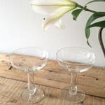 Vintage Bride and Groom Toast glasses, Coupe Hollow Stem Champagne glass, Vintage Inspired Wedding Decor, Wedding Tablescape, Free Shipping