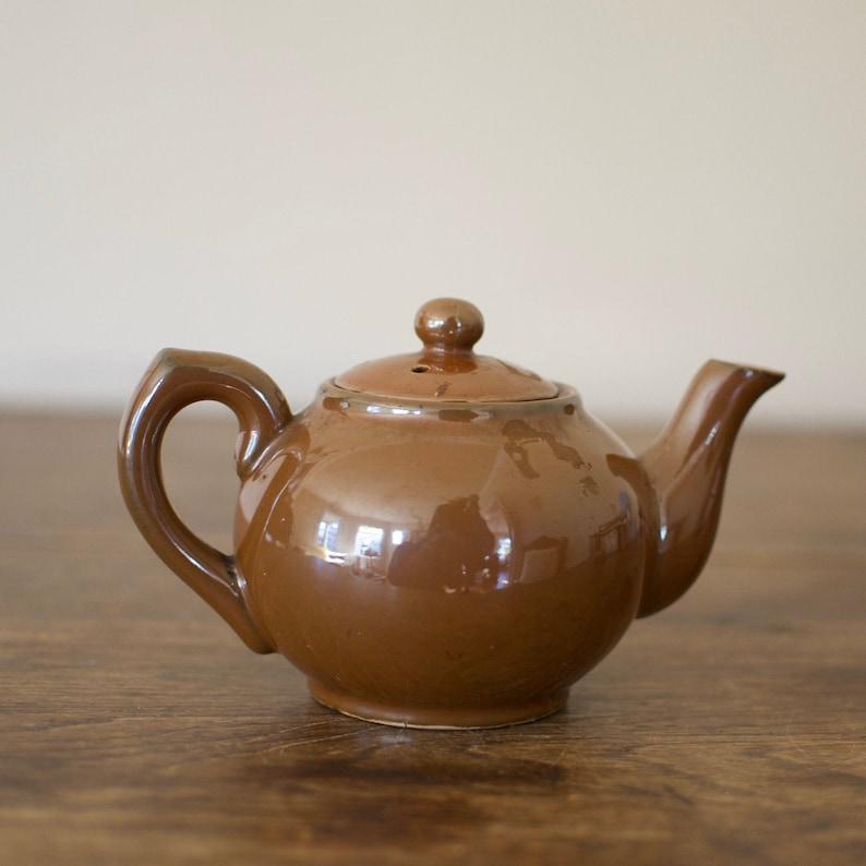 Vintage Single Serve Brown Porcelain Tea pot Fine China Tea image 0