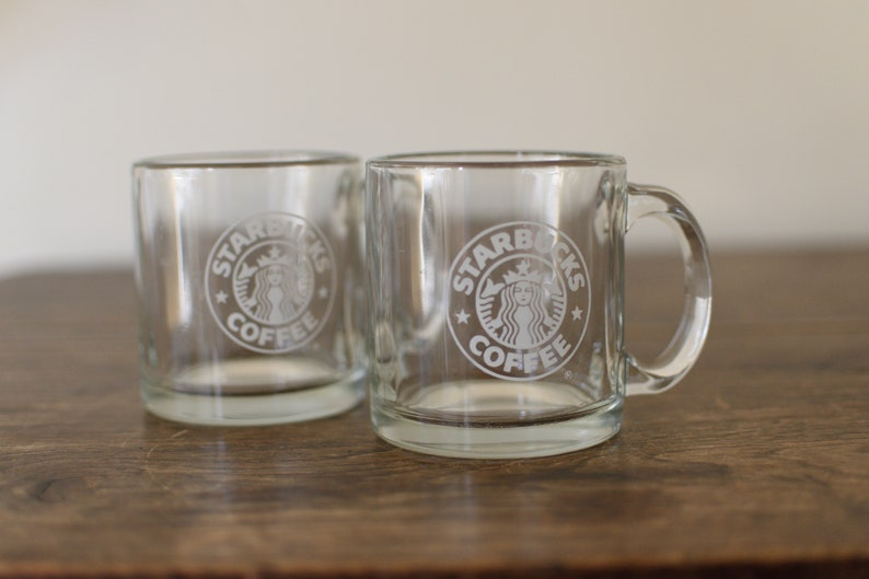 2 Vintage Starbucks Glass Coffee Mugs Clear Glass 12 oz Mugs image 0