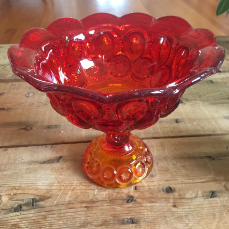Vintage Amberina LE Smith glass compote in Moon and Stars image 0