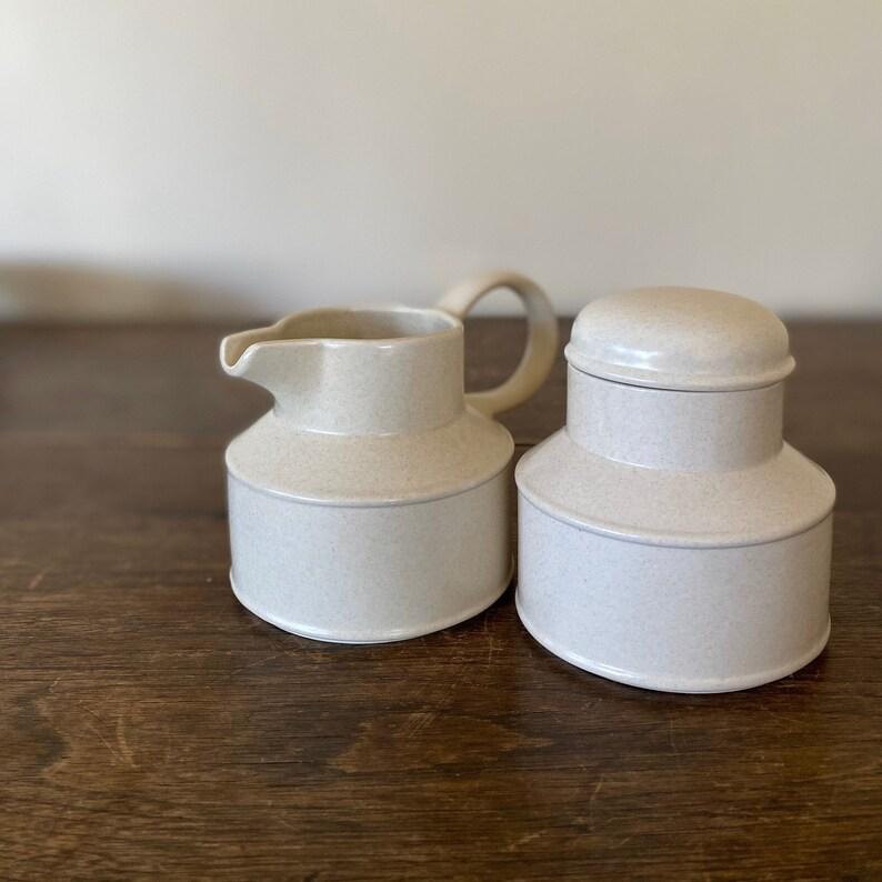 Midwinter England Stonehenge Creamer and Sugar Bowl MCM Coffee image 0