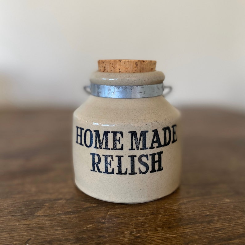 Homemade Relish Crock Cork Stopper & Handle Pearsons of image 0