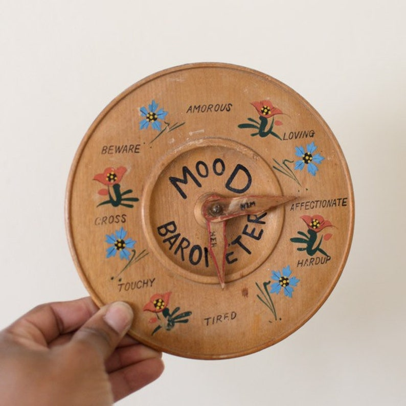 Vintage Mood Barometer  His & Her Mood  Wood Wall Art  image 0