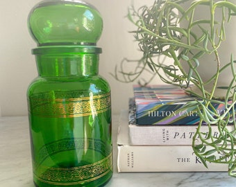 """Green & Gold 9"""" Apothecary Glass Jar with Lid, Made in Belgium"""