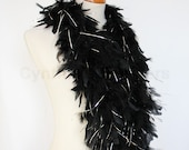 Black w Silver tinsel 45 Grams Chandelle Feather Boa 52 Inches Long Dancing Wedding Crafting Party Halloween Costume Decoration 8P41