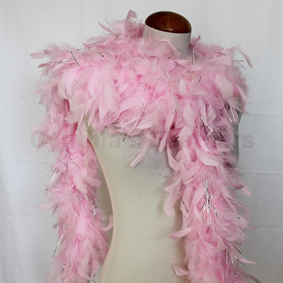 White w Hot Pink tips 65 Gram Chandelle Feather Boa 6 Feet Long Dancing  Wedding Crafting Party Dress Up Halloween Costume Decoration.8F41