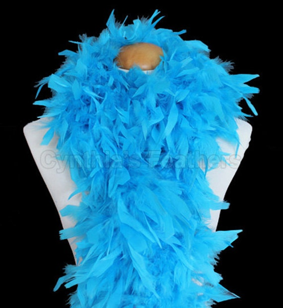 WHITE w// TURQUOISE Tip ; Costume//Halloween//Hats//Dress CHANDELLE FEATHER BOA
