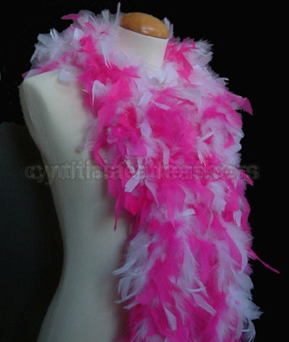 Fuschia with silver tinsel  65 Grams Chandelle Feather Boa  Party Halloween