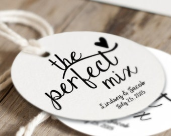 The Perfect Mix wedding favor tags, personalized tag, bridal shower tags, food favor tags, custom wedding tags