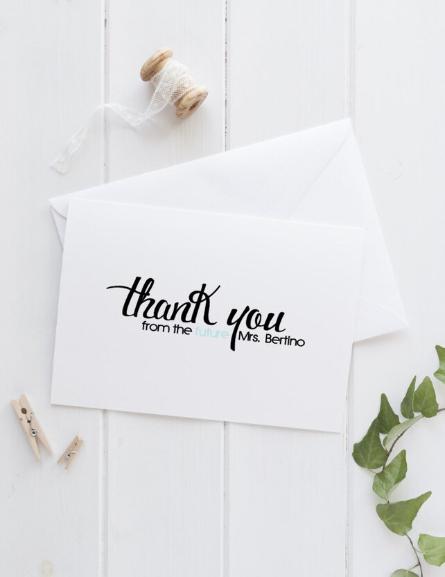 Modern Thank You Card Set Thank You From The Future Mrs Couple Or