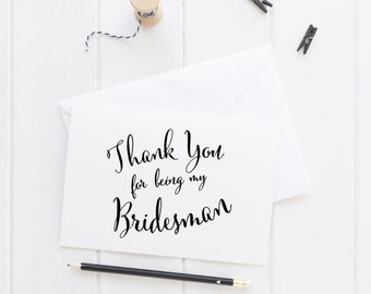 Bridesman Wedding Party Card, thank you card, wedding stationery, custom wedding card, bridal party cards, bridesman card