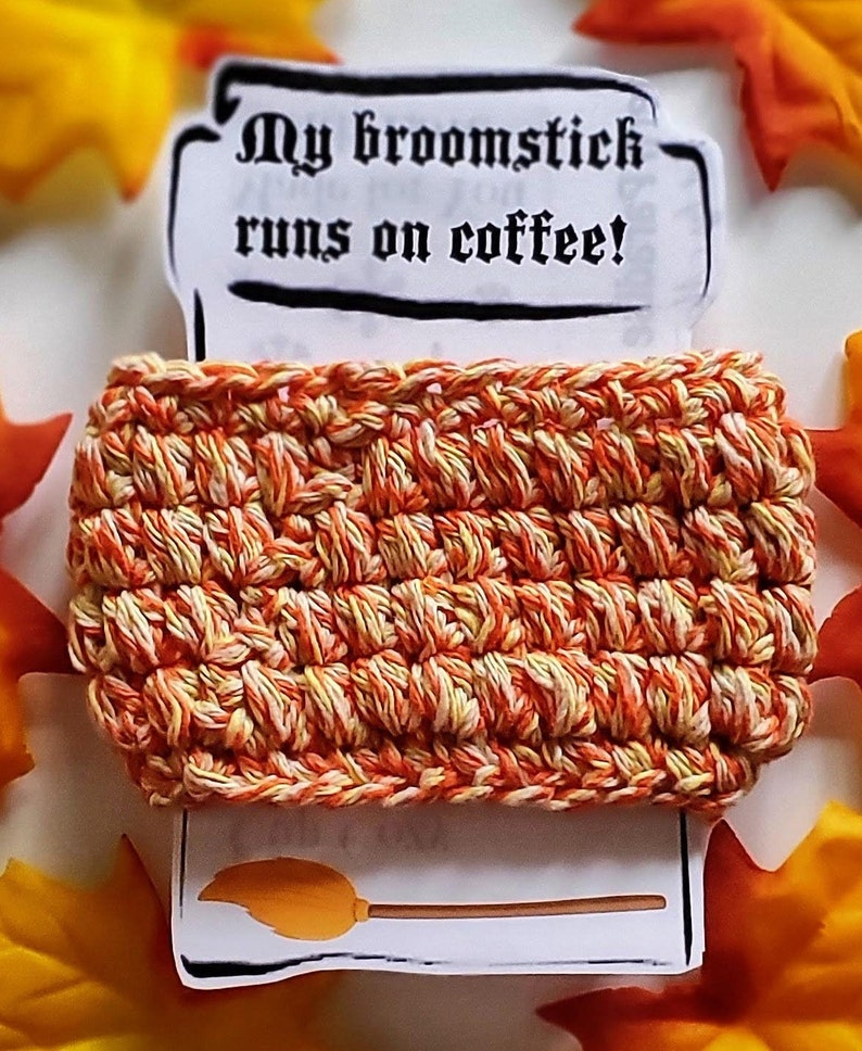 Halloween Fall Autumn Coffee Tea Crochet Cozy Sleeve image 0