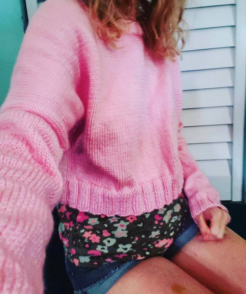 Oversized slouch crop knit woman teen sweater. Pink slouchy image 0