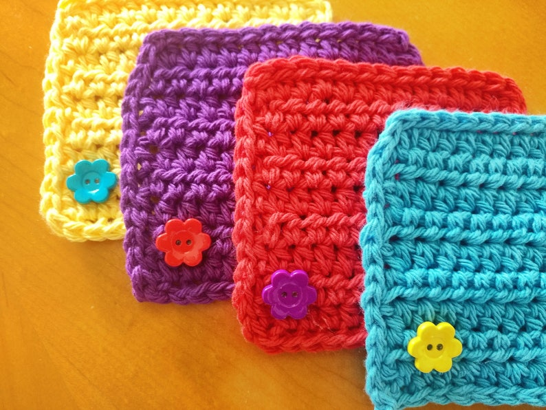 Square crochet button coaster set image 0