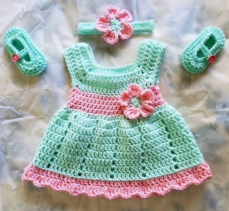 Baby Crochet Dress Crochet Baby Girl Outfit  Crochet Baby image 0