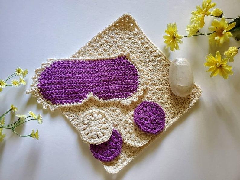 Crochet Spa Relaxation Day Bath Kit: cloth scrubbies sleep image 0