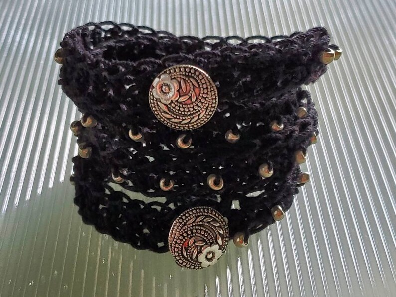 Crochet Boho Wrap Bracelet image 0