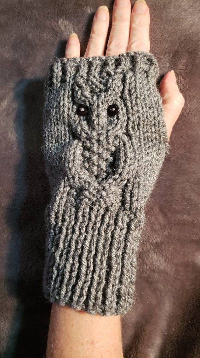 Hand knitted fingerless owl gloves mittens unisex one size image 0