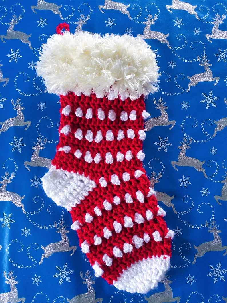 Holly Berry Crochet Christmas Holiday Stocking image 0