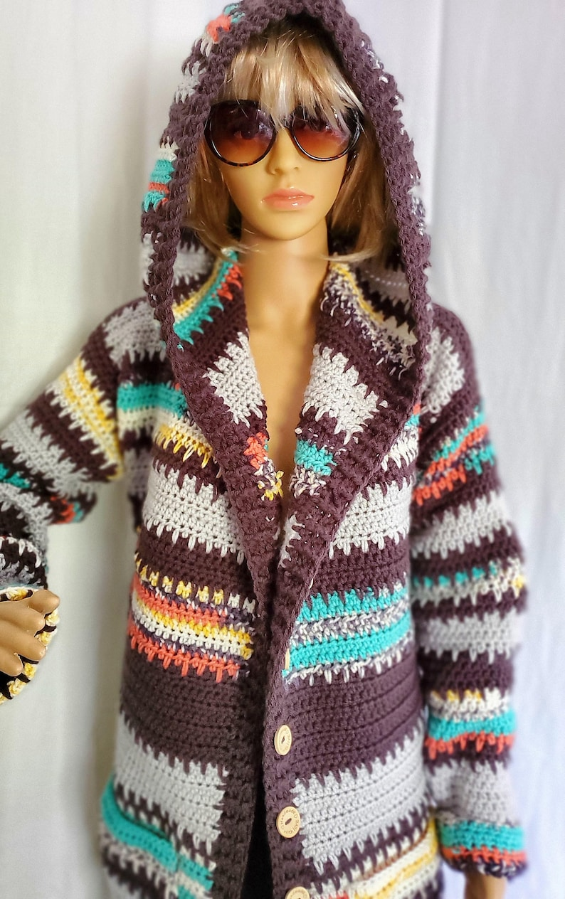 Painted Canyon Handmade Crochet Knit Hooded Cardigan Sweater image 0