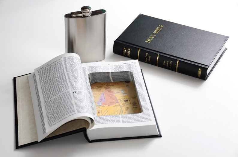 Bible Book Safe w/ 8oz Hidden Flask Option  Secret Hollow image 0