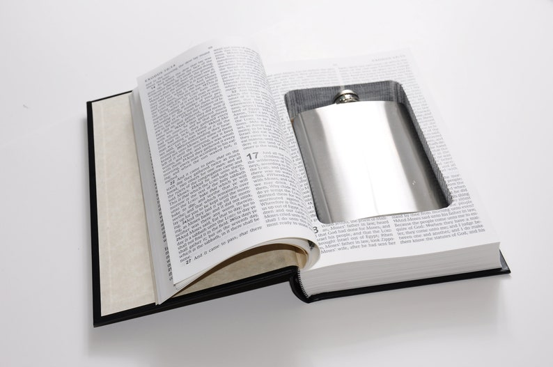 Bible Book Safe w/ 8oz Hidden Flask Option - Secret Hollow Diversion  Storage Box- Gift for Preacher Atheist Priest Pastor - White Elephant