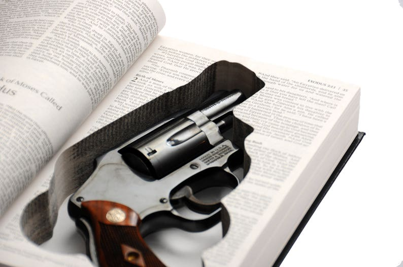 Bible Book Safe for Compact Handguns - S&W, Taurus, Ruger, Glock, Sig  Sauer, Springfield, Snub Nose Revolvers - Church security protection